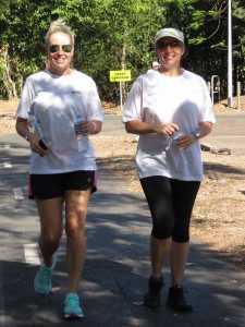 NPO's Suzanne Laister and PTM Bec Harrison enjoying the sun on the charity walk