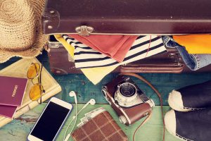 Contents in a travellers suitcase